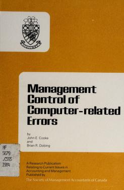 Cover of: Management control of computer-related errors | John Edward Cooke